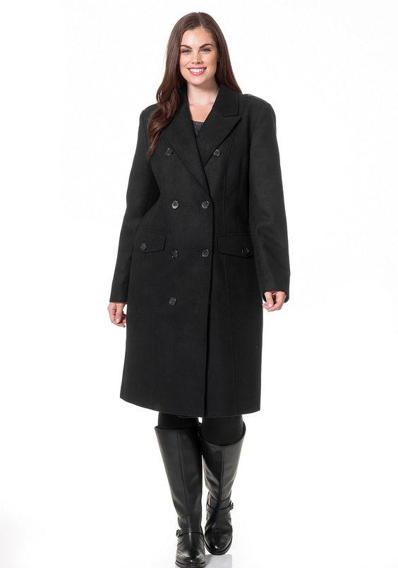 #schwarz #weiß #fashion #plussize #plussizefashion #curvyfashion #coat #style #sheego  Style Mantel