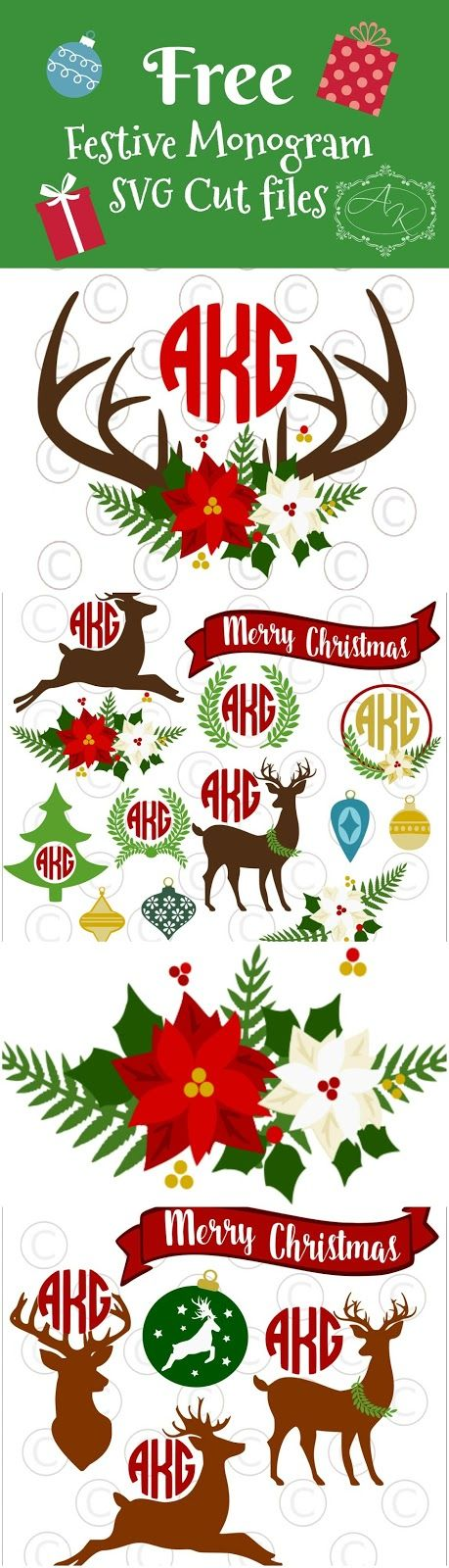 Free circle monogram SVG cut files. Christmas Svgs. Deer