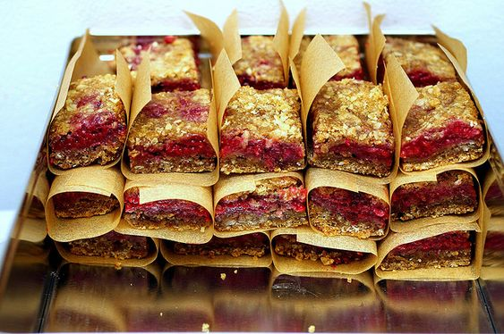raspberry breakfast bars. We're drowning in raspberries, yet something else to use them for.: