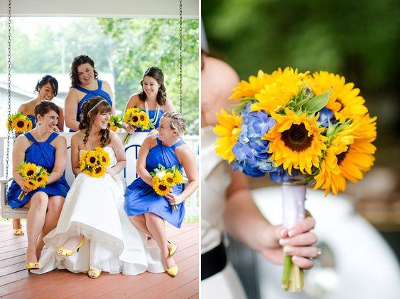 #casamento #ramos #girassóis #amarelo #azul
