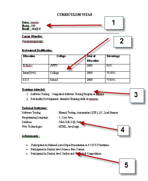 CV Format Sample 01 cv Pinterest Cv format, Cv format sample - resume format for bca freshers