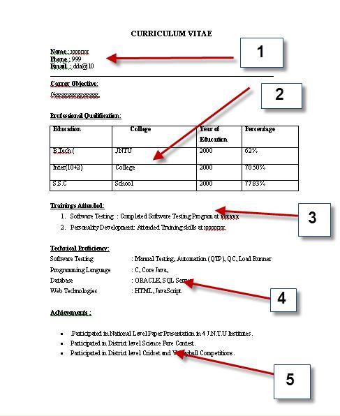 CV Format Sample 01 cv Pinterest Cv format, Cv format sample - sample resume for software testing freshers