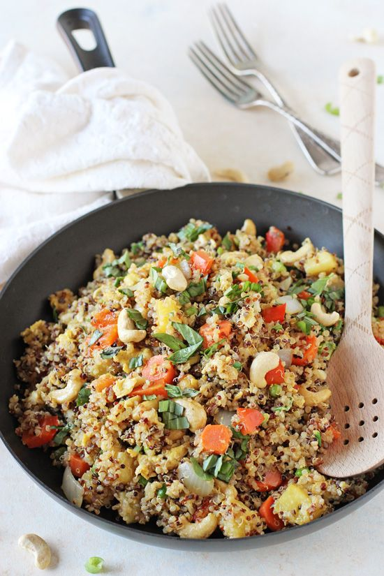 Healthy and easy pineapple cashew quinoa fried rice! Sweet, savory and ...