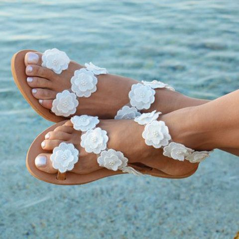 Womens Beach White Summer Flat Flower Sandals Holiady Slippers Gifthershoes Womens Sandals Flat Flat Flower Sandals Bridal Sandals