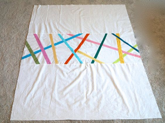 Pick-up Sticks Quilt 46x60 by LizaDawn on Etsy