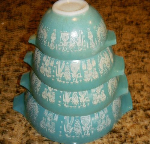 Vintage Pyrex 4 Mixing Bowl Nesting Set Amish Rooster Balloons Turquoise Aqua | eBay