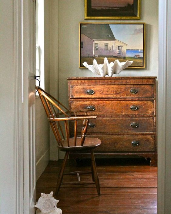 Antiques with contemporary art vignette - Nora Murphy Country House