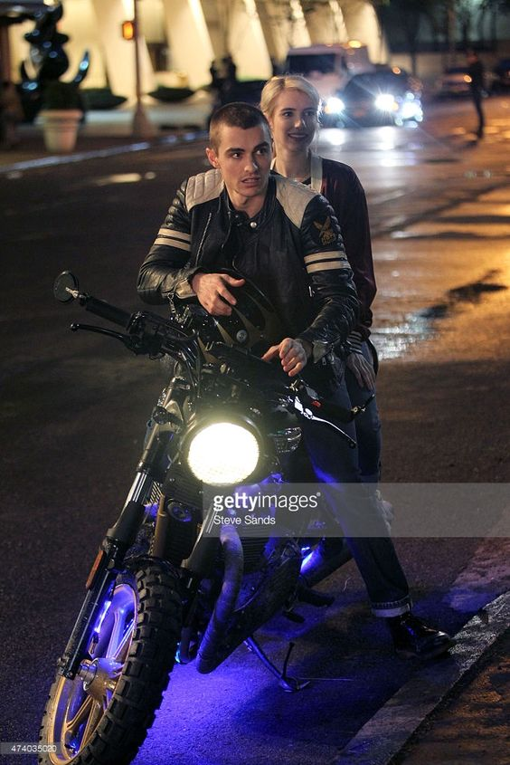 Emma Roberts, Dave Franco filming 'Nerve' on May 20, 2015 in New York City.