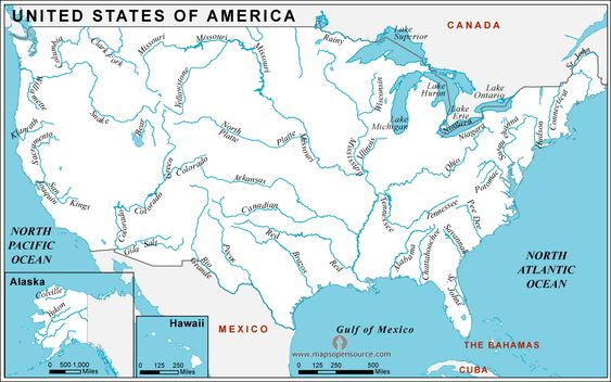 Map Of Usa With Rivers And Mountains USA Rivers And Lakes Map - Us map with rivers and mountains