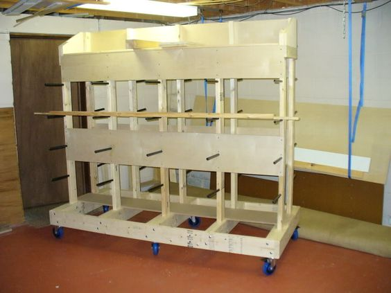 Plywood storage plywood and storage on pinterest for Sheet goods cart