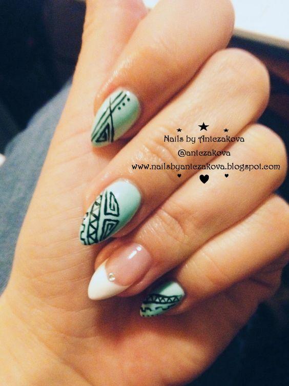 nails by Antczakova: Mint & white & aztec nails design | Nails by ...