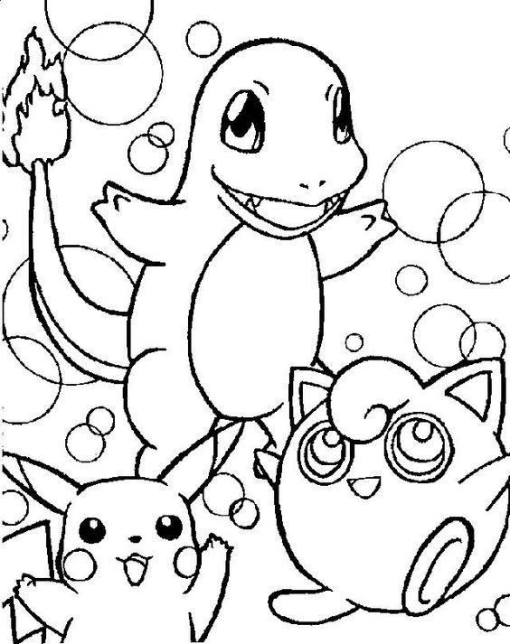 charmander pickachu en anderen pokemonkleurplaten http