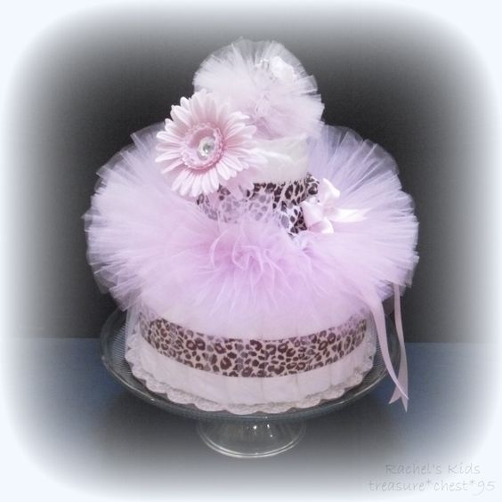 Diaper cake centerpiece pink animal print giraffe cheetah for Animal print baby shower decoration ideas