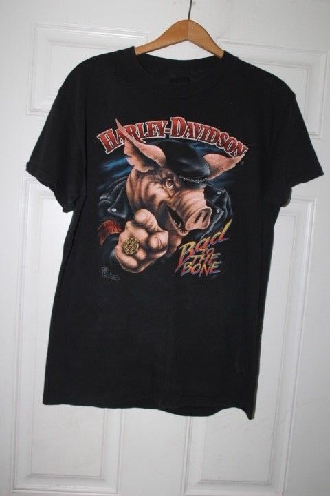 Vtg Harley Davidson T Shirt 3d Emblem 87 Road Hog Bad To The Bone Bike Week L