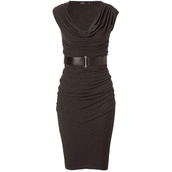 DONNA KARAN Smoky Brown Belted Asymmetric Dress (1 125 AUD) found on Polyvore