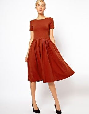 Image 1 of ASOS Midi Dress With Short Sleeves