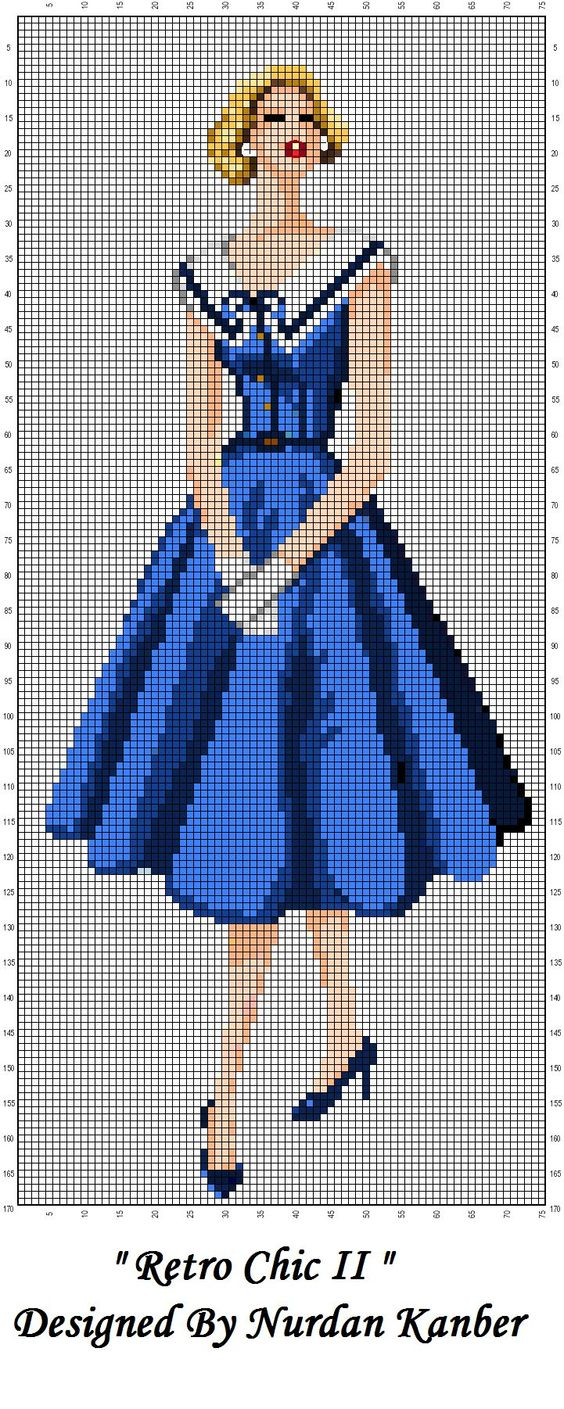 0 point de croix femme retro chic blue dress - cross stitch: