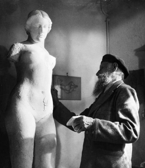 "Aristide Maillol (1861-1944), at La Métairie, working at ""L'Harmonie"", Banyuls, 1943 -by Gaston Karquel"
