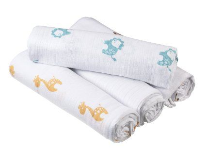 Make or buy?  Amazon.com: Aden By aden + anais Muslin Swaddle Blanket 4 Pack, Safari Friends: Baby