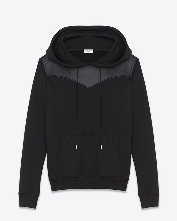 saintlaurent, レザーヨーク フード付スウェットシャツ(ブラック/フレンチテリー&レザー)