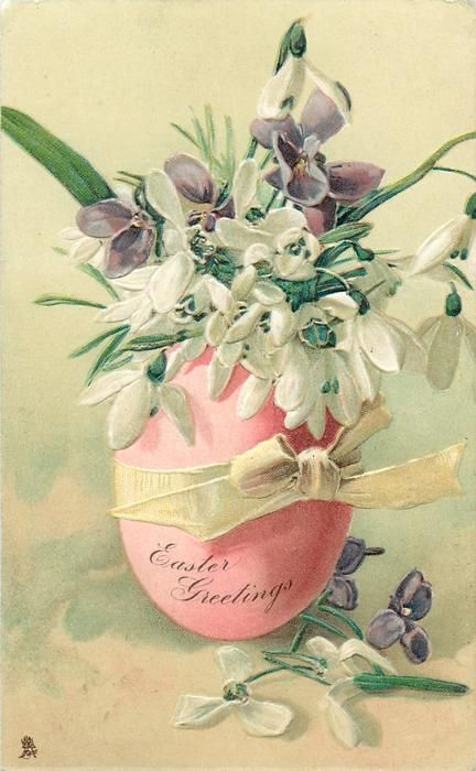EASTER GREETINGS  violets & snowdrops in pink egg with yellow bow: