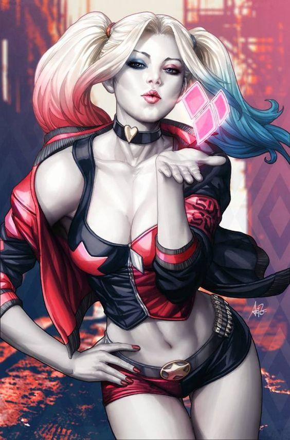 Kiss d'Harley Quinn by Artgerm