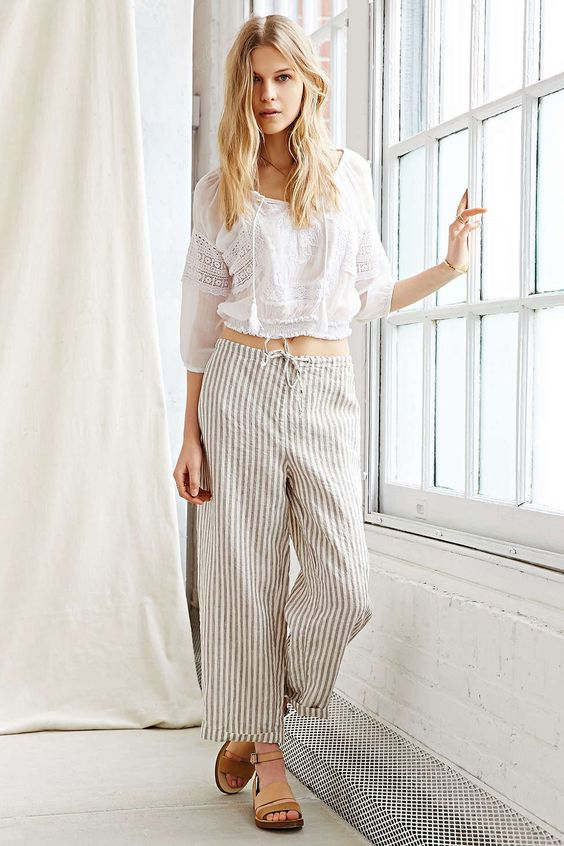 Urban Renewal Remade Linen Stripe Pull-On Pant - Urban Outfitters