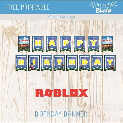Free Printable Roblox Birthday Banner Birthday Buzzin Birthday Banner Free Printable Happy Birthday Banner Printable Happy Birthday Banner Printable Free