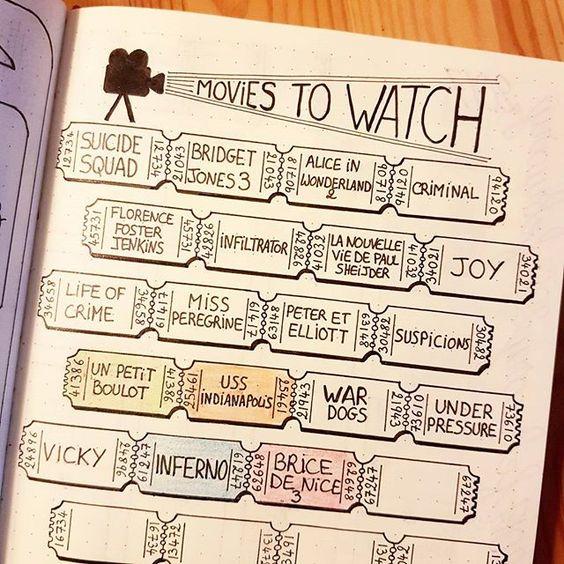 films à voir bullet journal