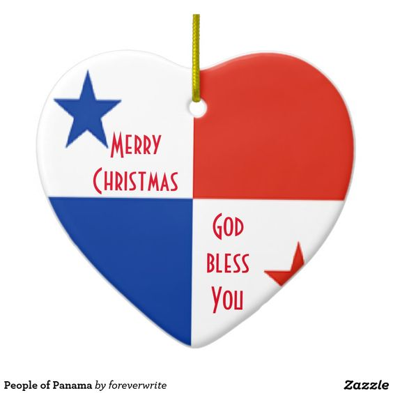 People of #Panama Double-Sided Heart Ceramic #Christmas Ornament