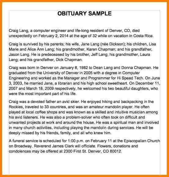 Obituary Template Mother Check More At Https