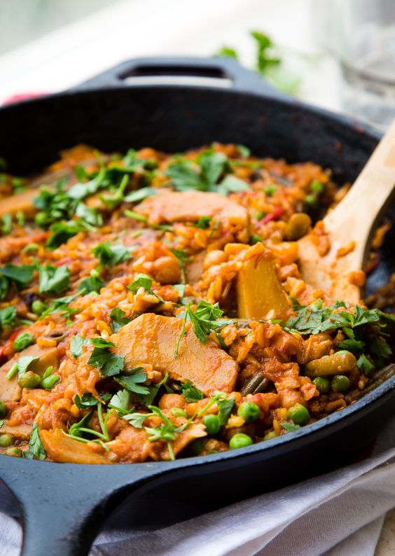 Vegetarian Paella—a Spanish rice dish—is traditionally made with seafood, chicken or sausage, and a seasoning base of saffron and tomato. But in this vegetarian version, I'm swapping the meat and fish for fresh produce and legumes. It's a veggie-filled dinner perfect for any night of the week.