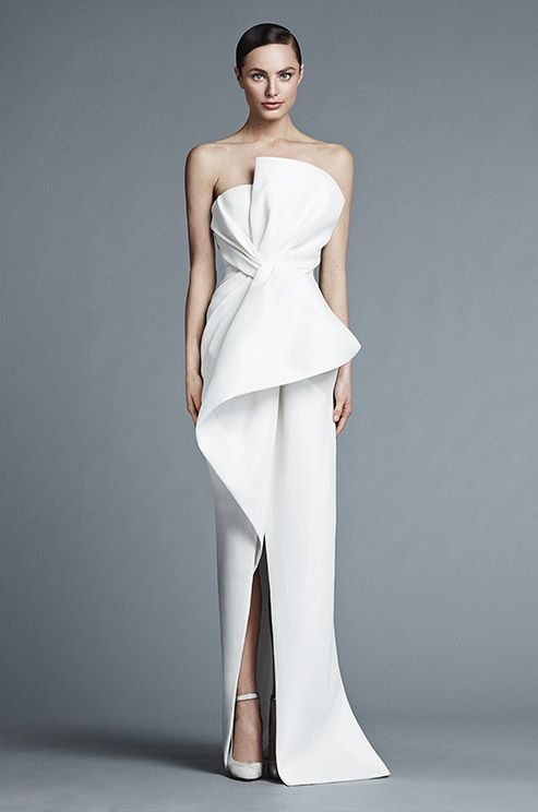 So in love with this architectural white wedding dress from the J.Mendel Spring 2015 bridal collection!: