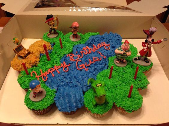Jake and the Neverland Pirates cupcake cake. Homemade. Buttercream icing. Disney. Baby brother's birthday!:
