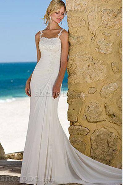 Strand Perlenbesetztes Kapelle Schleppe Ärmellos Mitte Rücken Bodenlanges Brautkleid - Bild 1