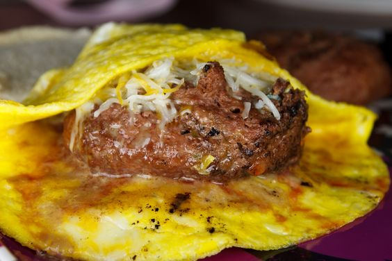 Omelet burger... known as a Ramly