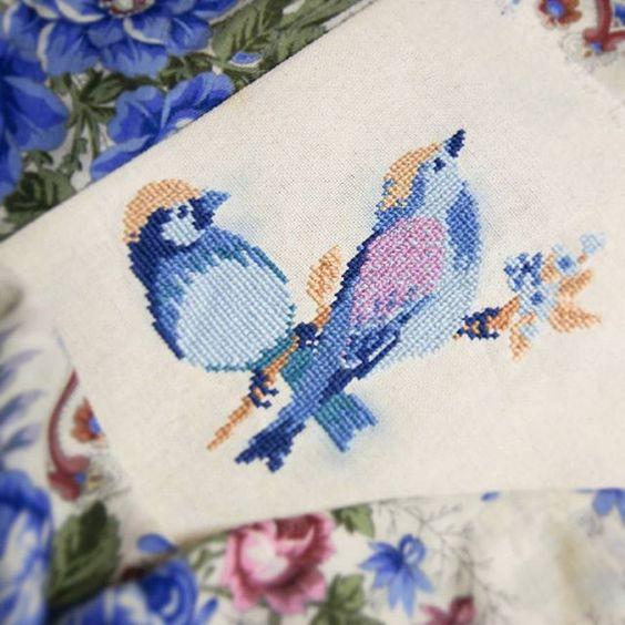 #вышивка #вышивка крестом #птички #DFEA