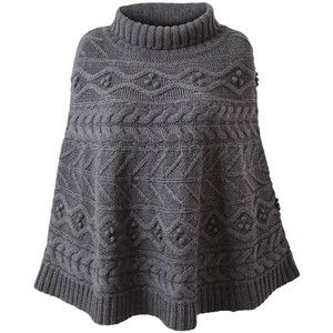 turtleneck knit poncho pattern - knitting Pinterest Cable, Patterns and...