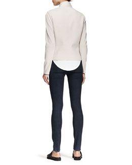 -4VXZ Helmut Lang Double-Zip Sweatshirt-Knit Jacket and Feather Jersey Tee