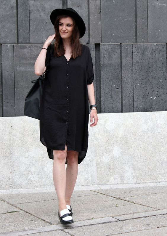 black shirt dress camisa vestido sapato black and white