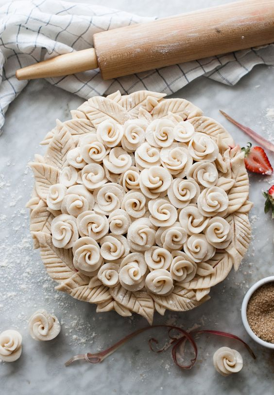 Rosy Rhubarb & Strawberry Pie - the most beautiful pie crust ever!