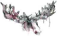 Modern Grey Watercolour Print Elk Horns with Blue and Pink Splash Wall Art $75.00 www.wallartroad.com.au #wallartroad #animaldecor #decor