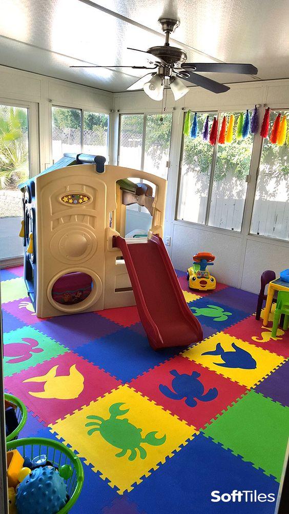 Sea animals children 39 s playroom flooring soft play mats for Playroom flooring ideas