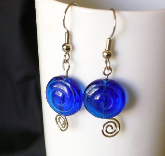 Blue glass with swirls earrings by EllensEclectics on Etsy, $8.00