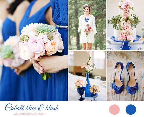 cobalt blue and blush pink wedding inspiration http://weddingwonderland.it/2015/07/palette-matrimonio-estate.html