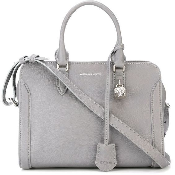 Alexander McQueen 'Padlock' tote found on Polyvore featuring bags, handbags, tote bags, purses, grey, hand bags, leather handbag tote, leather tote purse, handbags totes and leather tote bags
