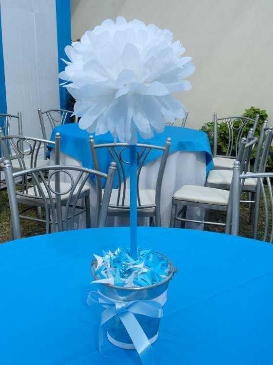 Decoraciones Para Centro De Mesas Mesa Pompón Papel En Cubeta Baptism Ideasbaby Showerideas
