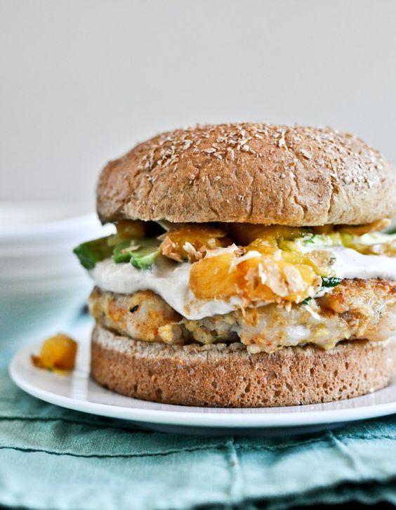 shrimp burgers with chipotle cream and coconut peach salsa