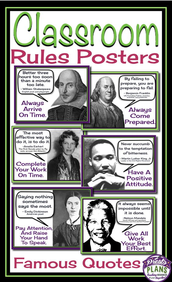 class rules posters famous quotes unique classroom and