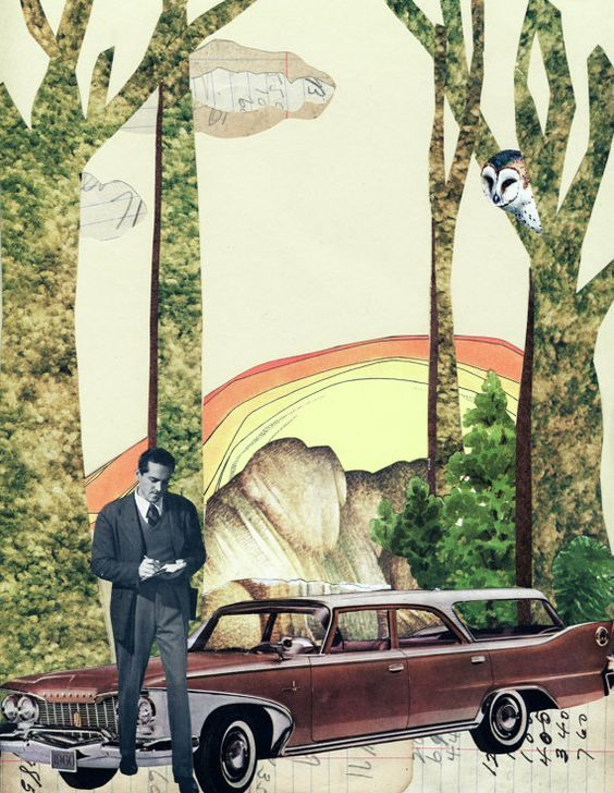 paper collage #owl #stationwagon